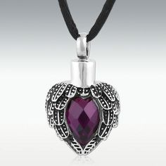 Amethyst Angels Near Heart Stainless Steel Cremation Jewelry