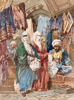 Amadeo Preziosi (Maltese, 1816-1882). The Silk Bazaar, late 19th Century