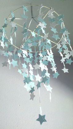 Nursery decor- Starry Night Mobile- Tiffany Blue and Pearl White Stars from One, Two, Hullabaloo!