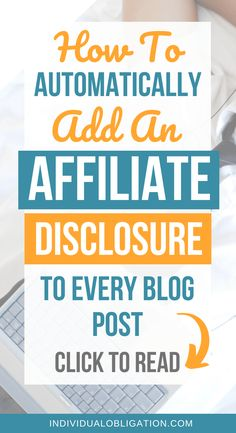 If you are using WordPress + affiliate links to monetize your blog and make money blogging. Then you need to read this blog post. Which will help you learn how to add affiliate disclosures automatically & their importance for your WordPress blog as a beginner blogger looking to make money online. These affiliate marketing for beginners tips and WordPress tutorials will have you setup fast. #WordPressTips #Blogging #HowToBlog #AffiliateMarketing #BlogTips #MakeMoneyBlogging…