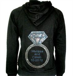 Personalized Bride Hoodie with Dazzling Diamond Ring - Bride Jacket and Pants - Bridal Hoodie - Bridal Sweatsuits
