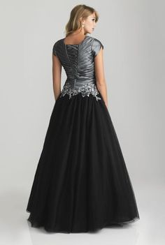 Alternate view of the Night Moves 6808M Modest Sequin Applique Formal Dress image