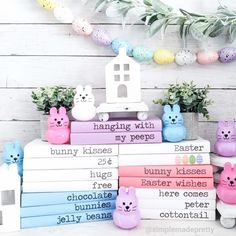 Stamped books for Easter and easter egg garland decorations dollar store simple Easter Dollar Tree DIY Decorations Dollar Tree Decor, Dollar Tree Crafts, Easter Books, Festive Crafts, Diy Easter Decorations, Diy Ideas, Craft Ideas, Decor Ideas, Decorating Ideas