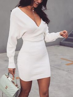 873f239f980 Shop Cut Out Back Wrap Sweater Dress – Discover sexy women fashion at IVRose