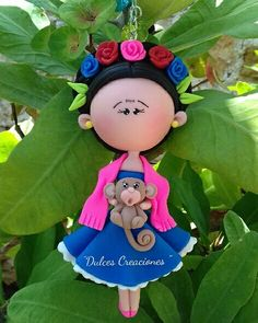 "Frida Kahlo  Pasta flexible,porcelana fria,polymerclay, biscuit,coldporcelain,migajon. ""Dulces Creaciones"""