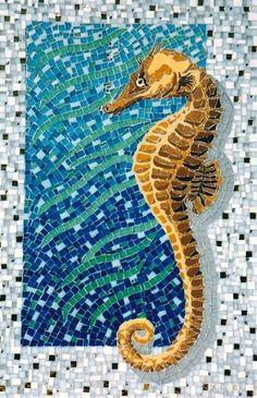 Fish Mosaic Patterns | Sea Horse ocean #design #mosaic | On the Beach, By the Sea