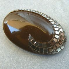 Chocolate & silver block swoop oval vintage art deco glass button.