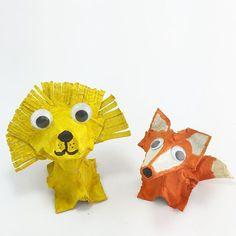 We made a little lion friend for our fox. #lion #fox #eggcarton #kidscrafts101 #kidscraft