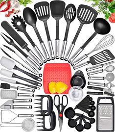 Baking Utensils, Cooking Utensils Set, Kitchen Utensil Set, Cooking Tools, Kitchen Sets, Kitchen Dining, Diy Kitchen, Nylons, Stainless Steel Utensils