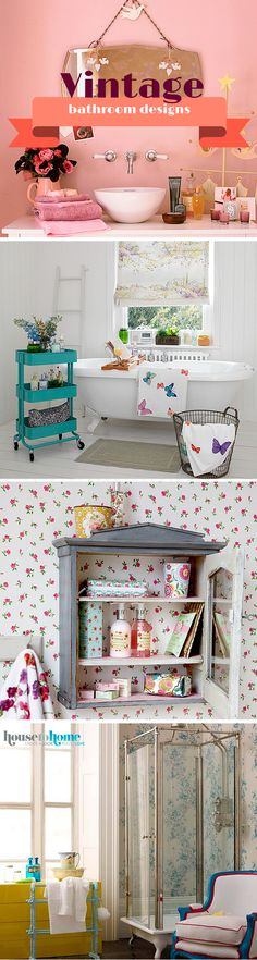 If you love all things vintage, make sure your bathroom is in keeping with the rest of your home with a retro design. A vintage bathroom style is easy to create. Opt for ditsy flower designed wallpaper, teamed with clashing floral tiles and floral accessories. For more vintage bathroom decorating ideas, visit housetohome.co.uk