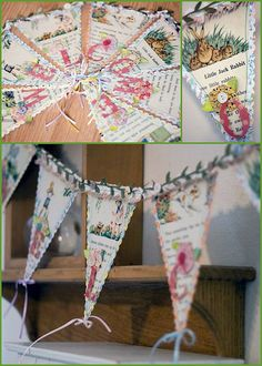 Pretty pennant banner from vintage children's book pages