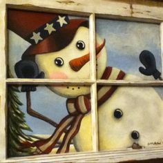 patriotic hand painted diy snowman old wooden window frame 2015 - christmas window frame Old Window Art, Old Window Crafts, Old Window Projects, Wooden Window Frames, Window Wall Decor, Wooden Windows, Window Ideas, Christmas Store, Christmas Deco