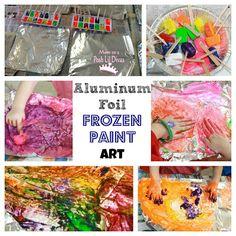 Aluminum Foil Frozen Paint Art - a fun sensory painting experience for kids