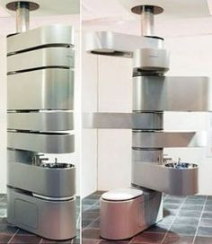 This is incredible!  Likely not the way we'd go, but great inspiration for space saving ideas.  Vertebrae vertical bathroom system. It houses everything you expect to find in a regular bathroom, it even has showerheads, a sink, a cistern, a toilet, and lots of storage units. This has got to be the ultimate space saving bathroom design.