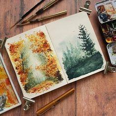 Posca Marker, Marker Art, Watercolor Sketchbook, Art Sketchbook, Sketchbook Inspiration, Painting Inspiration, Watercolor Landscape, Watercolor Paintings, Watercolour