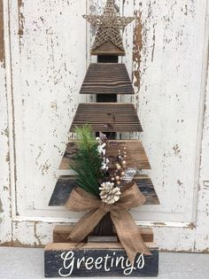 Rustic Christmas tree using weathered wood