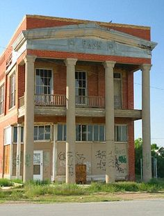 TX, Toyah - Bank of Toyah, Texas. The town was abandoned in the 1930s/1940s as many residents moved to Pecos. Amelia Earheart once made an emergency landing in the desert near the town and had to have her plane towed to Pecos for repair. The Toyah ruins were well preserved until 2004, when almost everything, including the bank building, was destroyed by a tornado.