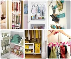 A host of clever closet organization ideas--from using shower curtain rings to hang your scarves and crown molding to hang your shoes to mounting pegboard to the back of the door for storing belts and other miscellaneous accessories. | Via thebudgetdecorator.com