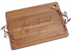 Just Married Bamboo Cutting Board