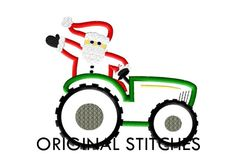 Santa+Riding+Tractor+Christmas+Applique+and+by+OriginalStitches,+$4.00
