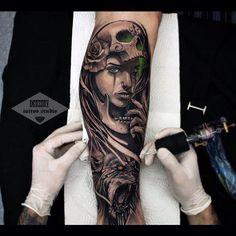 Badass Tattoo Sleeves Beautiful Pin by Sabrina Shaw On Tattoos Zombie Tattoos, Skull Tattoos, Black Tattoos, Body Art Tattoos, Sleeve Tattoos, Tattoo Sleeves, Dad Tattoos, Badass Tattoos, Forearm Tattoos