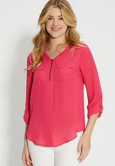 the perfect blouse with zipper neckline in bright raspberry | maurices