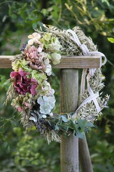 Beautiful wreath of fresh flowers