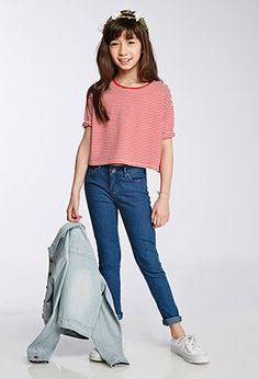 Boxy Striped Drop-Sleeve Tee (Kids)   FOREVER21 girls - 2000116376