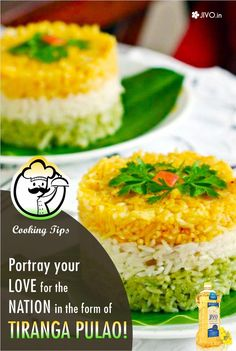 Portray your love for the nation in the form of Tiranga Pulao! Let's make this independence day more healthy & delicious with these Indian food recipes. Play with rice & portray your love for the nation in the form of tricolor pulao that resembles the colors of the Indian Flag. It is quick & easy Indian food recipe with amazing indian spices. Cook the rice & prepare three different mixtures. Wrap the cooked rice in separate mixtures & arrange them in a bowl or serving plate.