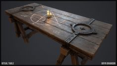Table prop for a fantasy game. I got the idea from a concept by Kyubrush I used DDO for texturing. Really nice software for painting textures. Medieval Games, Wooden Cottage, Game Props, Model Maker, Cg Artwork, Art Station, Environment Concept Art, Environmental Art, Texture Painting