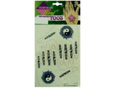 Temporary Hand Tattoos by KOLE IMPORTS. $26.21. Get the look of a henna tattoo without the henna with these temporary hand tattoos. Choice of designs include flowers, snakes, butterflies and hearts. Set includes two large designs for backs of hands and enough finger tattoos for all 10 fingers. Tattoos are waterproof and last for days but are easy to remove with alcohol or cold cream. Fun addition to a bridal or wedding shower party or a party favor bag.