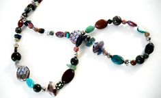 Blue Green Silver Beads Long Beaded Necklace 30 Inch by mscenna