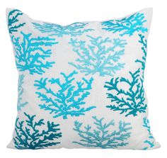 Caribbean Coast - 16 x 16 Aqua Embroidered White Linen Throw Pillow.