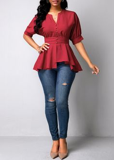 Trendy Tops For Women, Blouses For Women, Blouse Styles, Blouse Designs, Girls Fashion Clothes, Fashion Dresses, Ladies Occasion Dresses, Stylish Shirts, Red Blouses