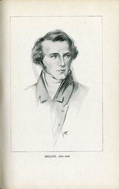Vincenzo Bellini (1801-1835), drawing (1918), by Chase Emerson (1874-1922) [ after a painting (1835), by Louis Dupré (1789-1837)], published in The Lure of Music, facing page 26.