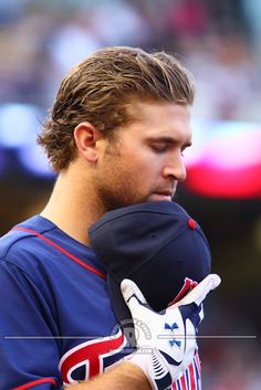 MN Twin Brian Dozier during the national anthem