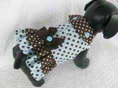 Brown and Blue Polka Dot   Dog Dress or Cat Dress  Double Ruffle  and Collar Harness Dress