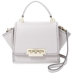 ZAC Zac Posen Women's Eartha Iconic Mini Leather Crossbody ($249) ❤ liked on Polyvore featuring bags, handbags, shoulder bags, leather crossbody, white leather purse, cross-body handbag, leather handbags and leather purses