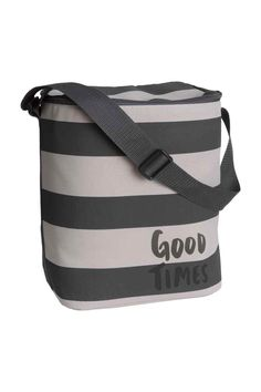 Striped cool bag: Patterned polyester cool bag with an adjustable carry strap, zip around the top and insulating foil lining. Capacity 14 litres. Size 17x26x32 cm.