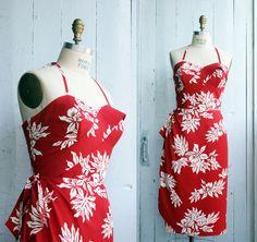 Robe sarong hawaïenne - Pin-up - Rockabilly - Tiki - Véritable tissu hawaïen…