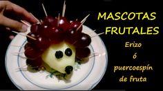 Animales de frutas  / Puerco espín o erizo de fruta - receta fácil y div...