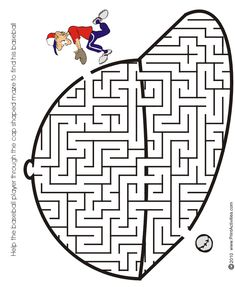 Baseball shaped maze from PrintActivities.com