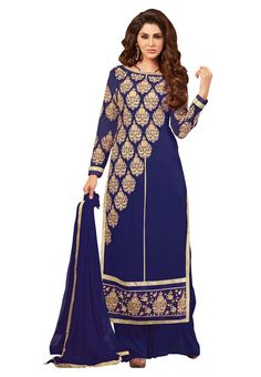 Buy Blue Semi Stitched Georgette Palazzo Salwar Suit Online at Bogglingshop.com