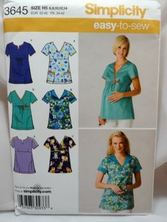 Simplicity 3645, Misses' Scrub tops with bonus Pattern for Maternity Top, Uncut Sewing Pattern by Allyssecondattic on Etsy