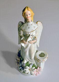 Vintage Transylvanian Porcelain Angel Candle Holder with Gold Trimming