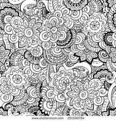 Seamless asian floral retro background pattern in vector Henna paisley mehndi doodles design ethnic pattern Used clipping mask for easy editing Black and white version