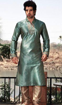 Deep Blue Cotton Silk Fabric Kurta Pajama Price: Usa Dollar $75, British UK Pound £44, Euro56, Canada CA$81 , Indian Rs4050.