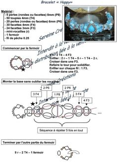 A pattern for the bracelet Happy - 2 U need: 5 round beads 8 mm (P8  - on the pattern) 50 bicone beads 4 mm (T4) 20 beads 6 mm (P6) 30 beads 4 mm (F4) 24 beads 3 mm (F3) mini se...