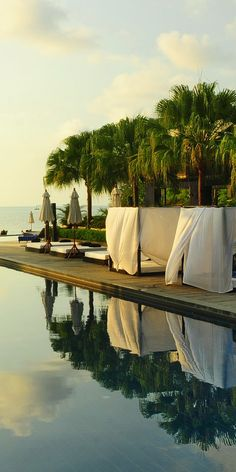 pool, beds and sea view from The Chill Resort & Spa, Kai Bae Beach, Koh Chang, Thailand