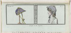 Anonymous | Le Mois, Journal historique, littéraire et critique, avec figures, Tome 2, No. 4 page 16, An. 7 (1798-1799): Casque à la Coquette, Anonymous, 1798 - 1799 | Links: Een 'casque a la coquette' op een hoedenstandaard. Rechts: een vrouwenhoofd met gestreepte muts. Prent uit het tijdschrift Le Mois : Journal historique, littéraire et critique avec figures, An 7 en 8 (1798-1800).